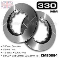 CMB0084-BRAKE-DISCS-[330MM-X-28MM-12-BOLT-50MM-PAD-8PCD]