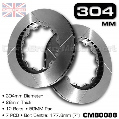 CMB0088-BRAKE-DISCS-[304MM-X-28MM-12-BOLT-50MM-PAD-7PCD]