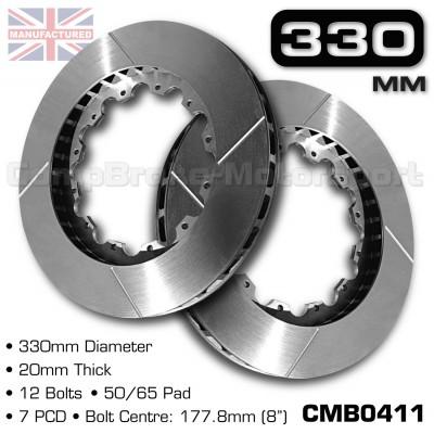 CMB0411-BRAKE-DISCS-[330MM-X-20MM-12-BOLT-50-65MM-PAD-7PCD]