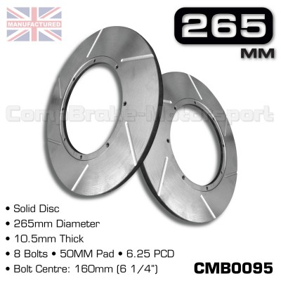 CMB9005-BRAKE-DISCS-[SOLID]-[265MM-X-10.5MM-8-BOLT-50-60MM-PAD-6.25PCD]