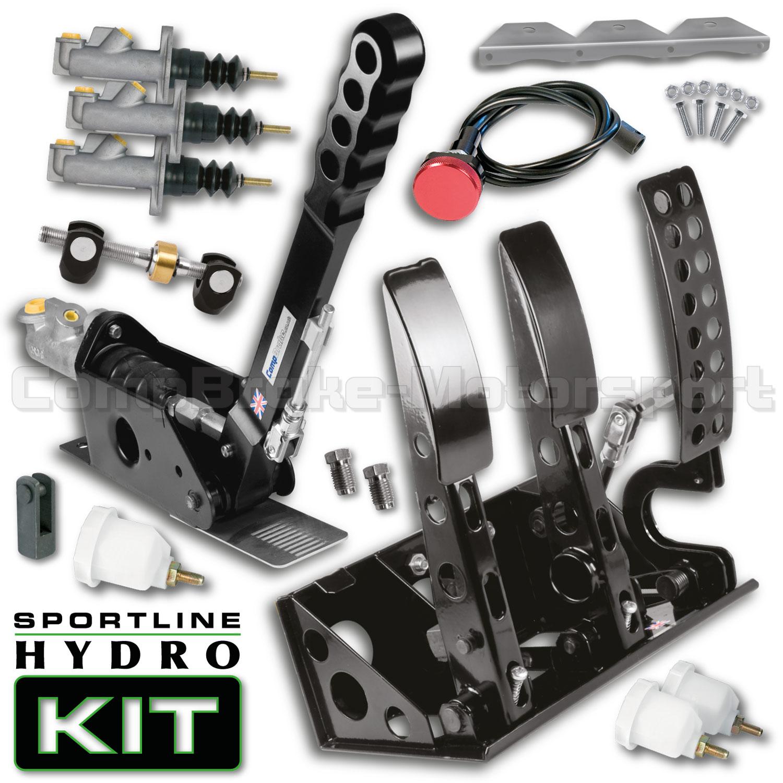 Sportline Floor Mounted Hydro Kit - Universal Hydraulic Pedal Box & 300mm Handbrake Kit - Hydro ...
