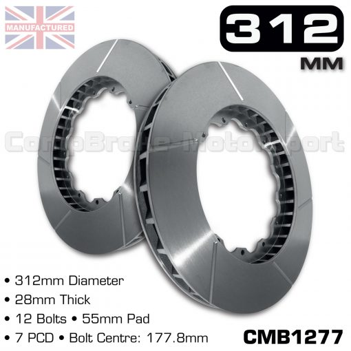 CMB1277-BRAKE-DISC-[312MM-X-28MM-12-BOLT-55MM-PAD-7PCD]-FITS-RENAULT-CLIO-197RS-2-PIECE