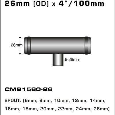 CMB1560-26-T-PIECE-26mm-[OD]-x-4INCH-[100mm]