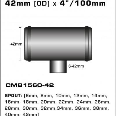 CMB1560-42-T-PIECE-42mm-[OD]-x-4INCH-[100mm]