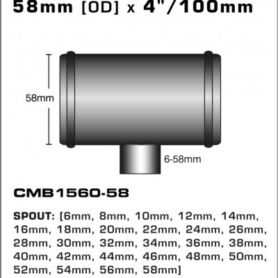 CMB1560-58-T-PIECE-58mm-[OD]-x-4INCH-[100mm]