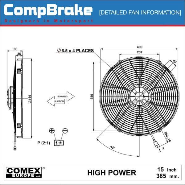 Comex 12v High Power Cooling Fan 15 2 U0026quot   385mm  Pusher