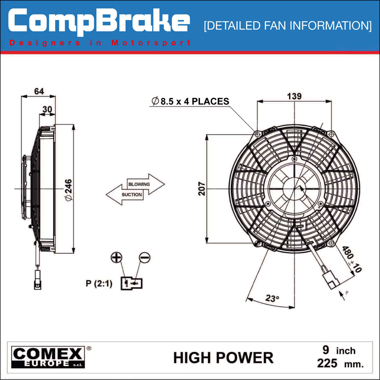 Comex 12v High Power Cooling Fan 9 U0026quot   255mm  Pusher  Blower