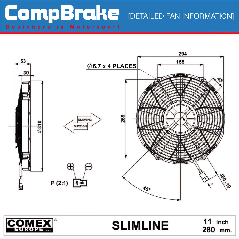 Comex 12v Slimline    Cooling       Fan    11   280mm  PusherBlower
